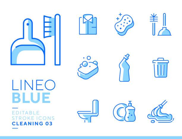 illustrations, cliparts, dessins animés et icônes de lineo blue-graphismes de ligne de nettoyage et de travail ménager - vaisselle picto