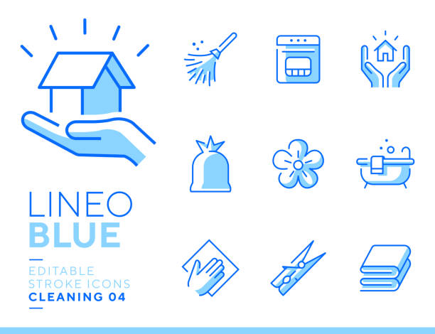 Lineo Blue - Cleaning and Housework line icons Vector icons - Adjust stroke weight - Expand to any size - Change to any color blue icons stock illustrations