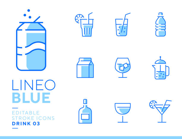 illustrazioni stock, clip art, cartoni animati e icone di tendenza di lineo blue - drink and alcohol line icons - aperitivo