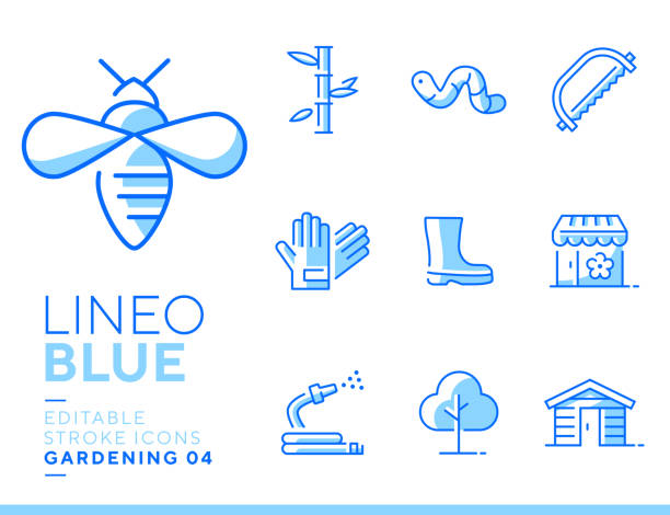 Lineo Blue - Gardening and Seeding line icons Vector icons - Adjust stroke weight - Expand to any size - Change to any color annelid stock illustrations