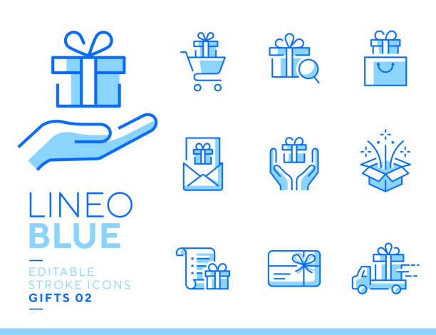 Lineo Blue - Gifts and Surprise line icons Vector icons - Adjust stroke weight - Expand to any size - Change to any color shopping list stock illustrations