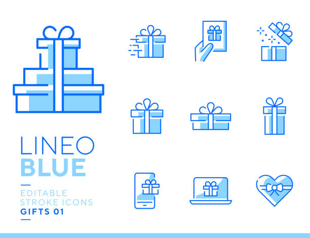 Lineo Blue - Gifts and Surprise line icons vector art illustration