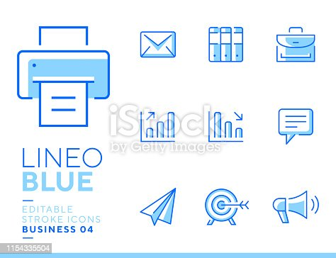 istock Lineo Blue - Office and Business line icons 1154335504