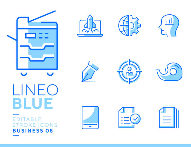 Lineo Blue - Office and Business line icons Vector icons - Adjust stroke weight - Expand to any size - Change to any color blue icons stock illustrations