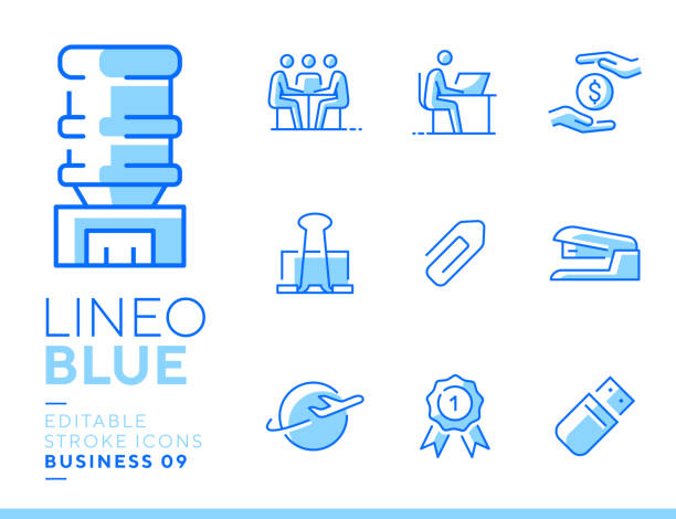 Lineo Blue - Office and Business line icons vector art illustration