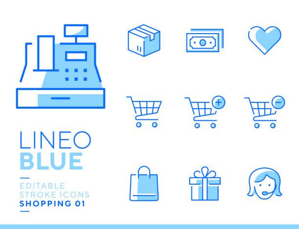 lineo blue - shopping and e-commerce line icons - kasa fiskalna stock illustrations