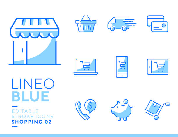 lineo blue - shopping and e-commerce line icons - wózek transportowy stock illustrations