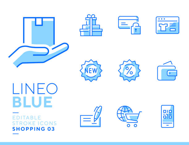 Lineo Blue - Shopping and E-commerce line icons Vector icons - Adjust stroke weight - Expand to any size - Change to any color blue icons stock illustrations