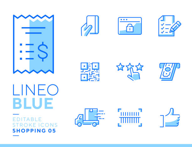 Lineo Blue - Shopping and E-commerce line icons Vector icons - Adjust stroke weight - Expand to any size - Change to any color shopping list stock illustrations