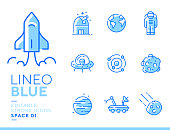 istock Lineo Blue - Space and Planets line icons 1150246654