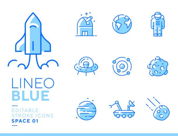 ilustrações, clipart, desenhos animados e ícones de azul de lineo-ícones da linha do espaço e dos planetas - foguete espacial