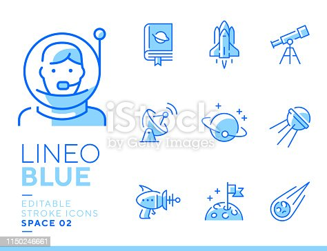istock Lineo Blue - Space and Planets line icons 1150246661