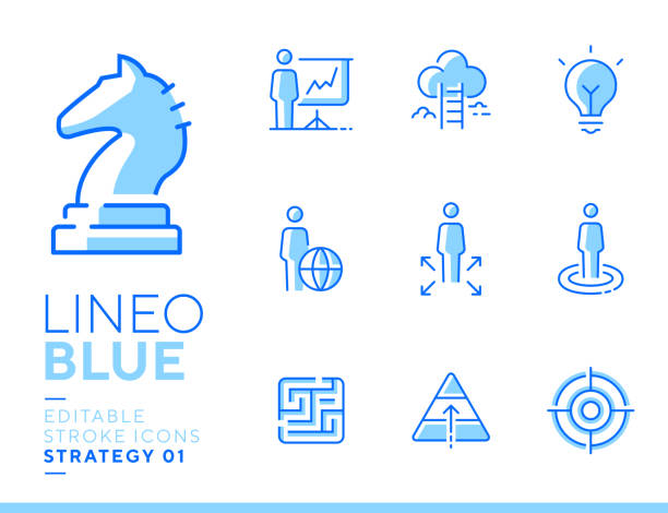 Lineo Blue - Strategy and Management line icons Vector icons - Adjust stroke weight - Expand to any size - Change to any color blue icons stock illustrations