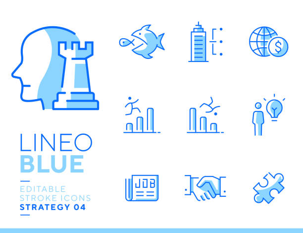 Lineo Blue - Strategy and Management line icons Vector icons - Adjust stroke weight - Expand to any size - Change to any color blue symbols stock illustrations