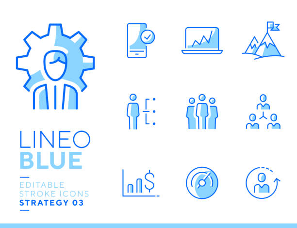 Lineo Blue - Strategy and Management line icons vector art illustration