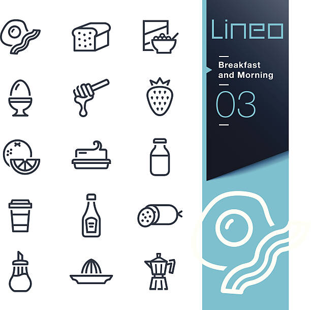 lineo - breakfast and morning outline icons - delis stock illustrations