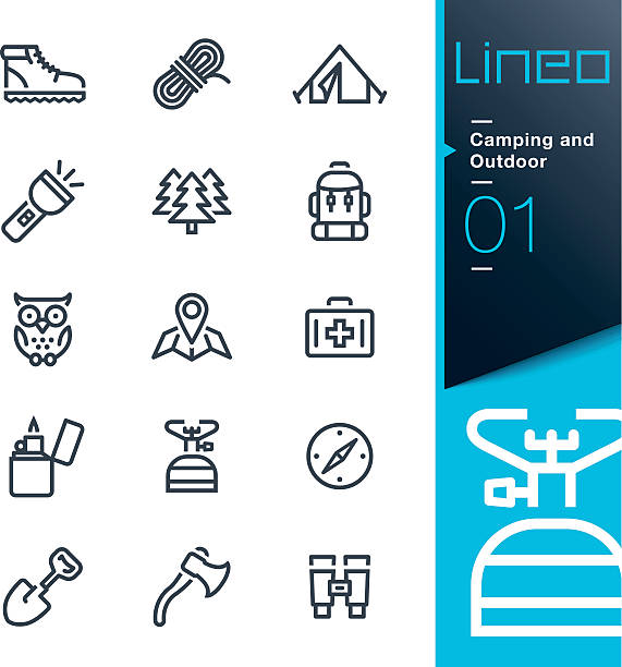 lineo-camping und outdoor silhouette icons - zeltausrüstung stock-grafiken, -clipart, -cartoons und -symbole