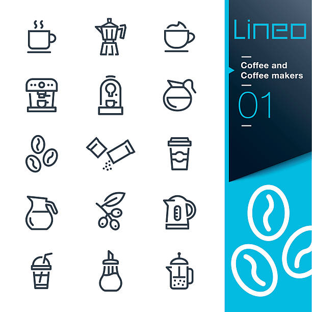 lineo - coffee line icons - cappuccino stock illustrations