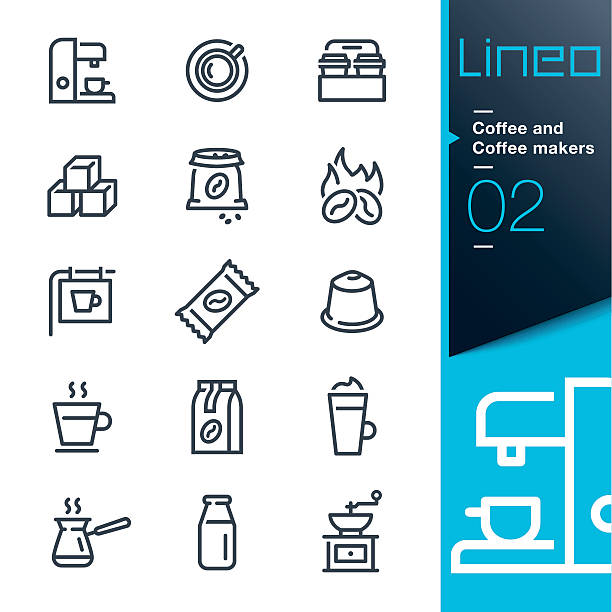 lineo - coffee line icons - barista stock illustrations, clip art, cartoons, & icons