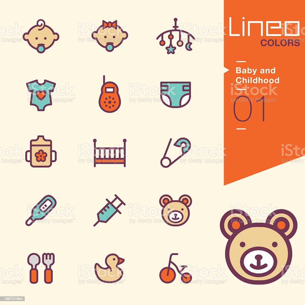 Lineo Colors - Baby and Childhood icons vector art illustration