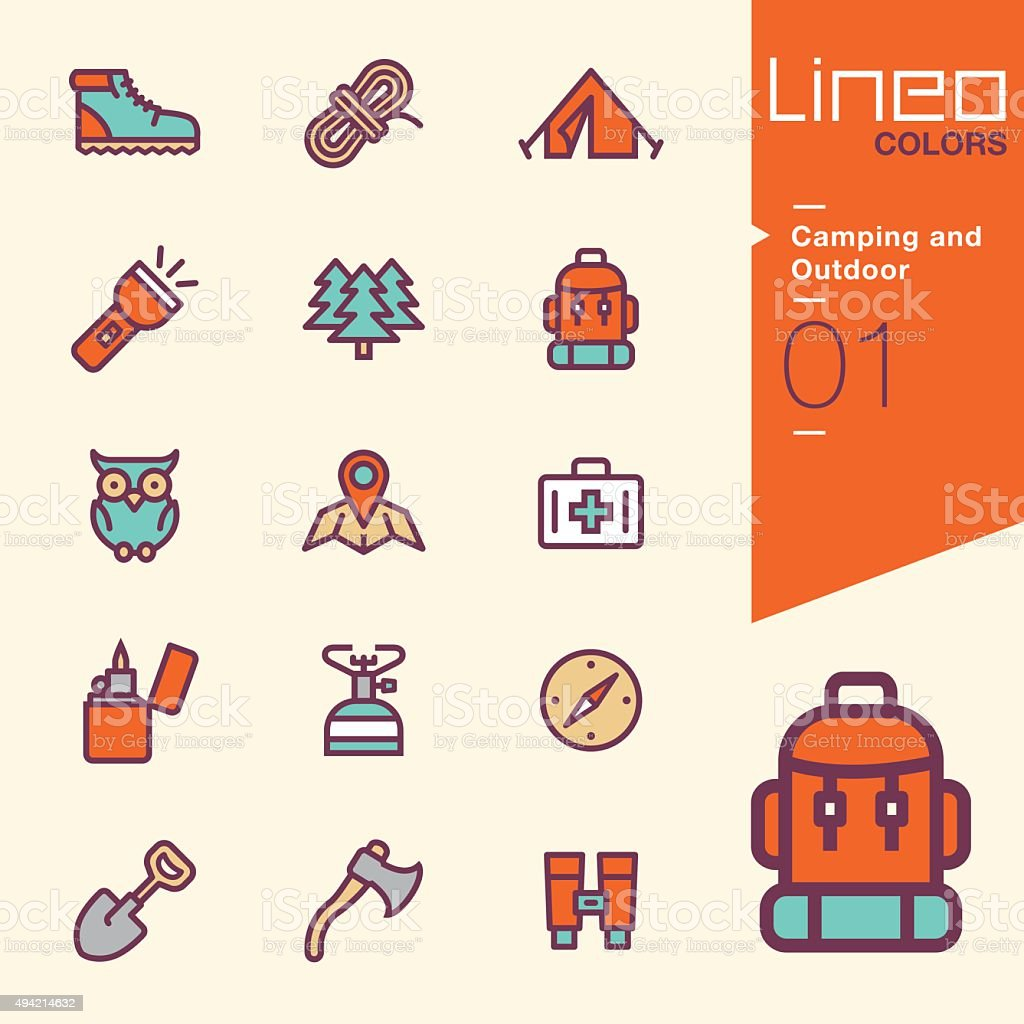 Lineo Colors - Camping and Outdoor icons vector art illustration