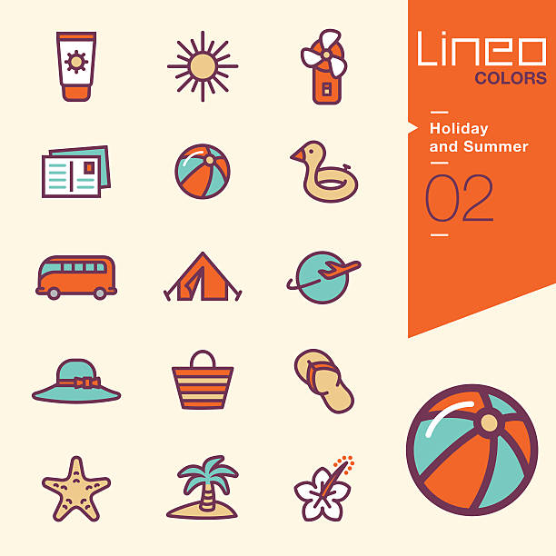 Lineo Colors - Holiday and Summer icons Vector illustration, Each icon is easy to colorize and can be used at any size.  heat wave stock illustrations