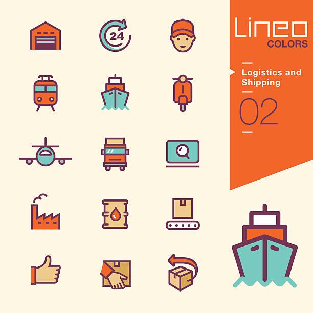 ilustraciones, imágenes clip art, dibujos animados e iconos de stock de colores lineo de iconos de transporte y logística - conductor de autobús
