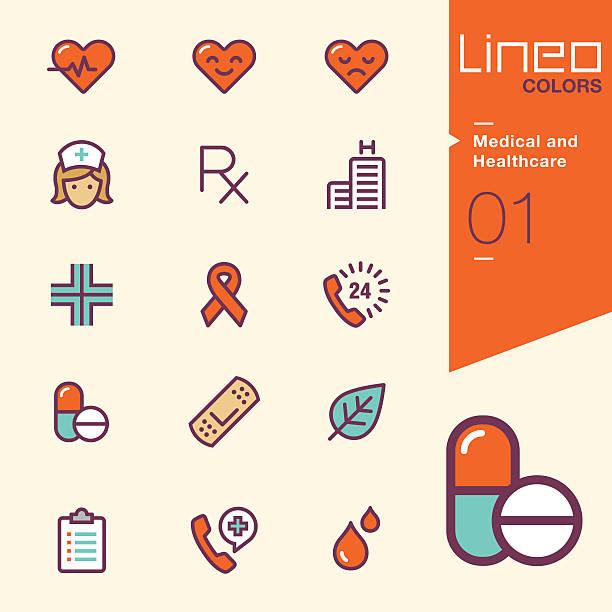 ilustrações, clipart, desenhos animados e ícones de lineo cores-médicos e assistência médica ícones - enfermeira