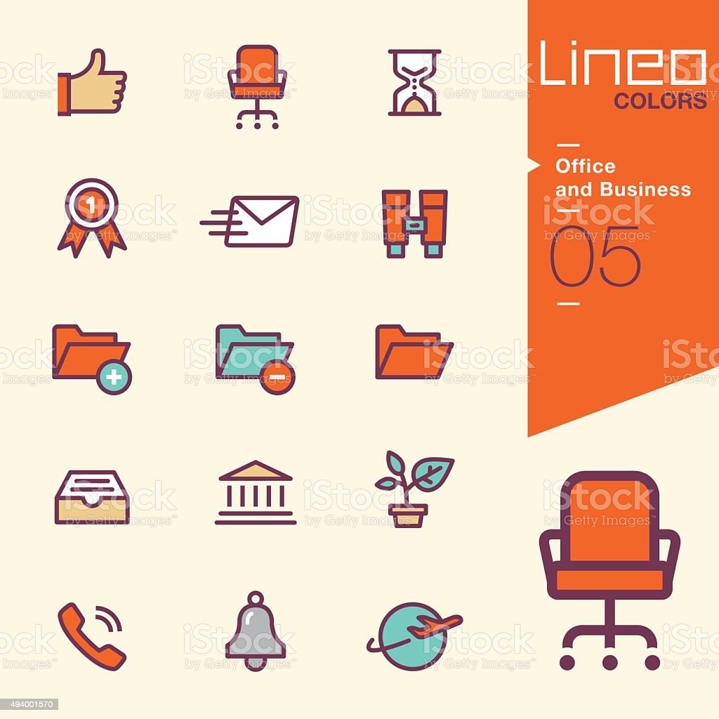 Lineo Colors - Office and Business icons vector art illustration