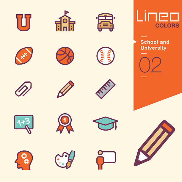 lineo colors - school and university icons - high school sports stock illustrations