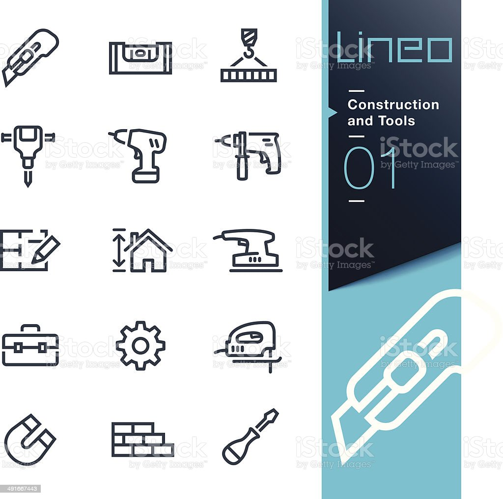 Lineo - Construction and Tools outline icons vector art illustration