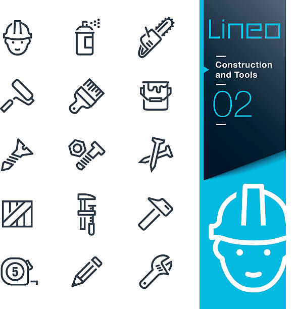 Lineo - Construction and Tools outline icons Vector illustration, Each icon is easy to colorize and can be used at any size.  paint can stock illustrations