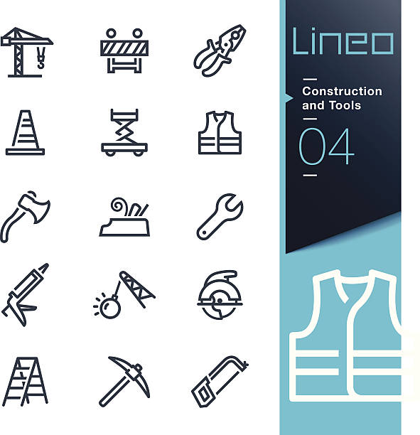 Lineo - Construction and Tools outline icons Vector illustration, Each icon is easy to colorize and can be used at any size.  demolished stock illustrations