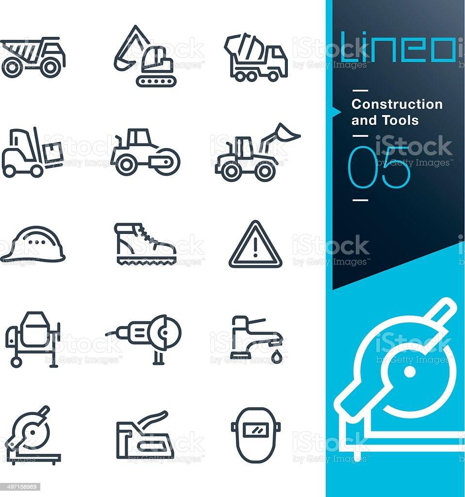 Lineo-Konstruktion und Tools Kontur icons – Vektorgrafik
