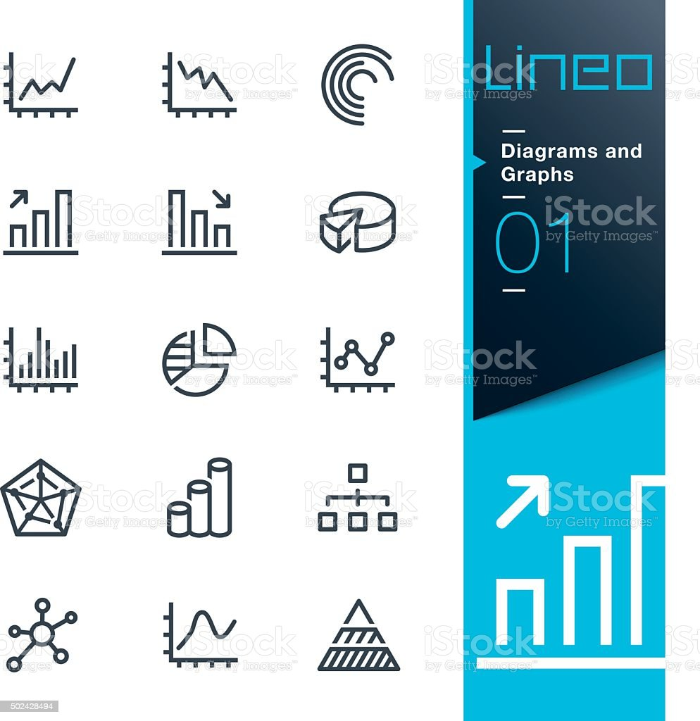 Lineo - Diagrams and Graphs line icons vector art illustration