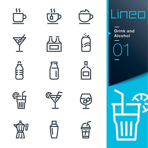 lineo - drink and alcohol outline icons - refreshment stock illustrations, clip art, cartoons, & icons