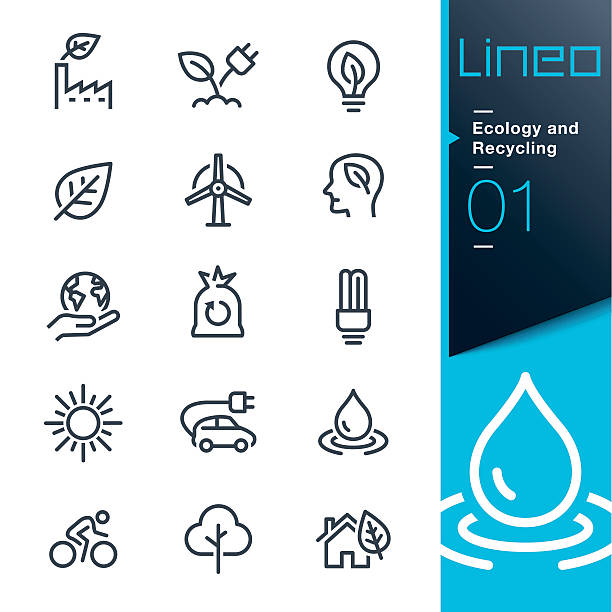 lineo - ecology and recycling line icons - energy saving stock illustrations, clip art, cartoons, & icons