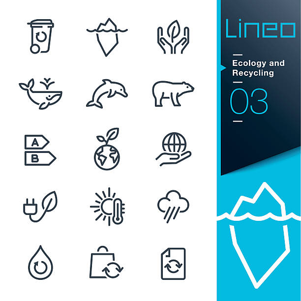 Lineo - Ecology and Recycling line icons Vector illustration, Each icon is easy to colorize and can be used at any size.  heat wave stock illustrations