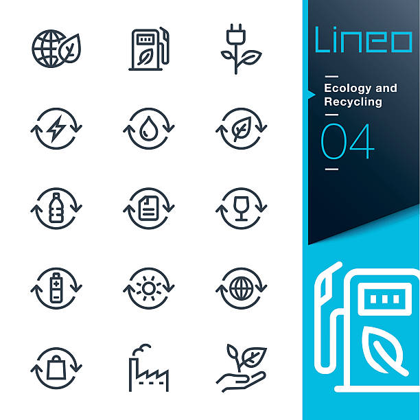 Lineo - Ecology and Recycling line icons vector art illustration