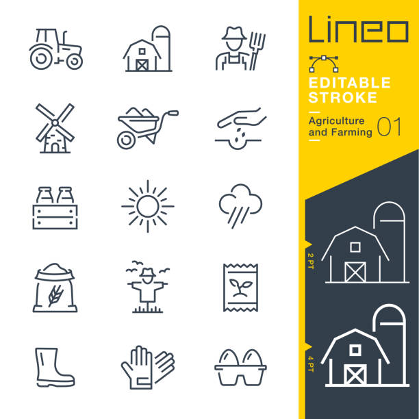 Lineo Editable Stroke - Agriculture and Farming line icons Vector Icons - Adjust stroke weight - Expand to any size - Change to any colour farmer stock illustrations