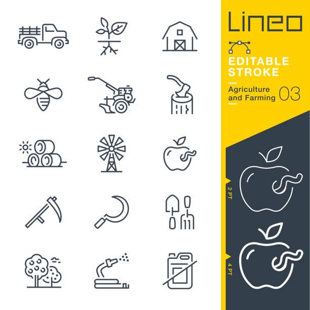 ilustrações de stock, clip art, desenhos animados e ícones de lineo editable stroke - agriculture and farming line icons - inseto himenóptero