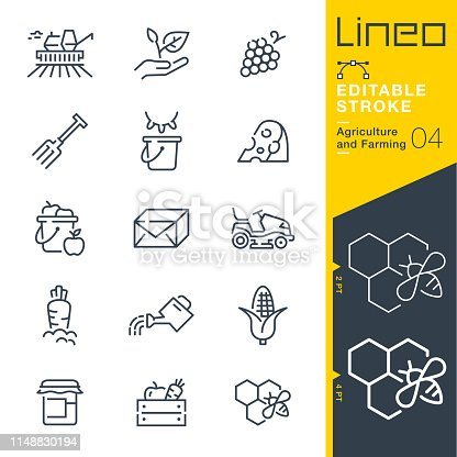 istock Lineo Editable Stroke - Agriculture and Farming line icons 1148830194