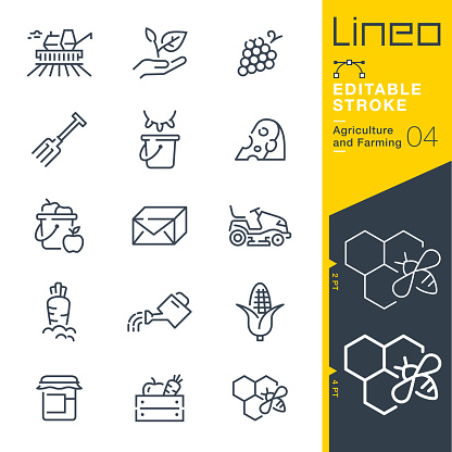Lineo Editable Stroke - Agriculture and Farming line icons