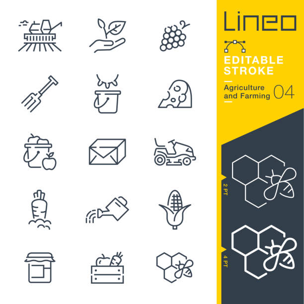 Lineo Editable Stroke - Agriculture and Farming line icons Vector Icons - Adjust stroke weight - Expand to any size - Change to any colour cultivated land stock illustrations