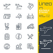 istock Lineo Editable Stroke - Airport and Travel outline icons 1204637825