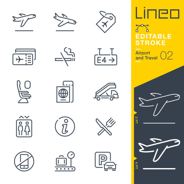 Lineo Editable Stroke - Airport and Travel outline icons Vector icons - Adjust stroke weight - Expand to any size - Change to any colour airplane ticket stock illustrations