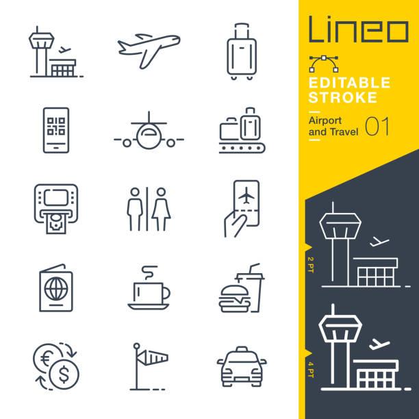 stockillustraties, clipart, cartoons en iconen met lineo bewerkbare slag - de overzichtspictogrammen van de luchthaven en van de reis - cell phone toilet