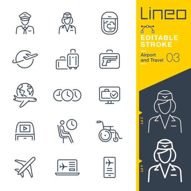 Lineo Editable Stroke - Airport and Travel outline icons Vector icons - Adjust stroke weight - Expand to any size - Change to any colour airport stock illustrations