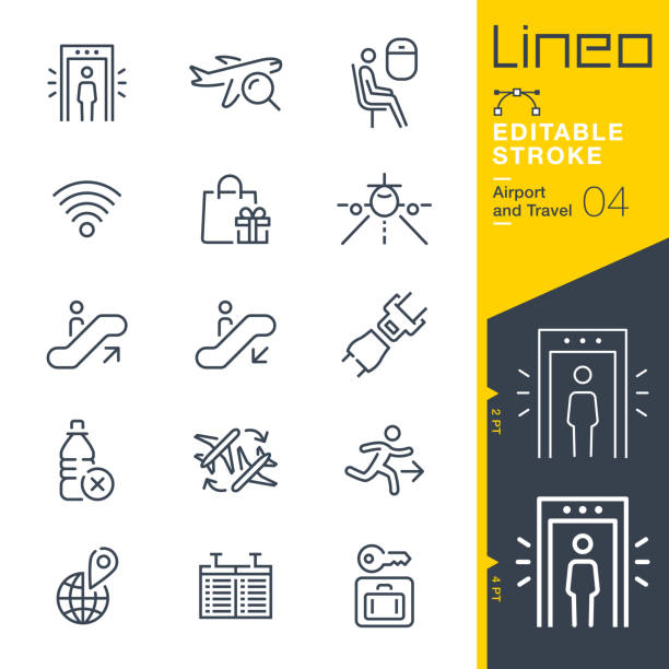 Lineo Editable Stroke - Airport and Travel outline icons Vector icons - Adjust stroke weight - Expand to any size - Change to any colour airport symbols stock illustrations