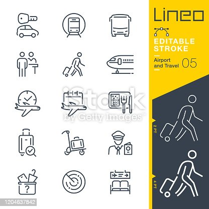 istock Lineo Editable Stroke - Airport and Travel outline icons 1204637842